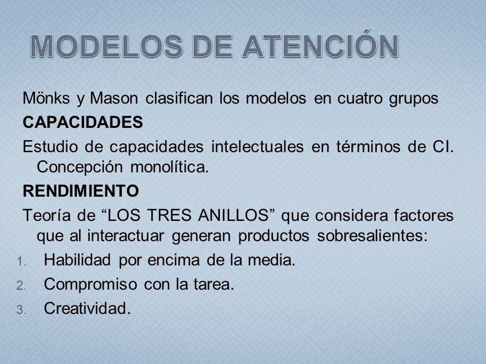 MODELOS DE ATENCIÓN Mönks y Mason clasifican los modelos en cuatro grupos. CAPACIDADES.