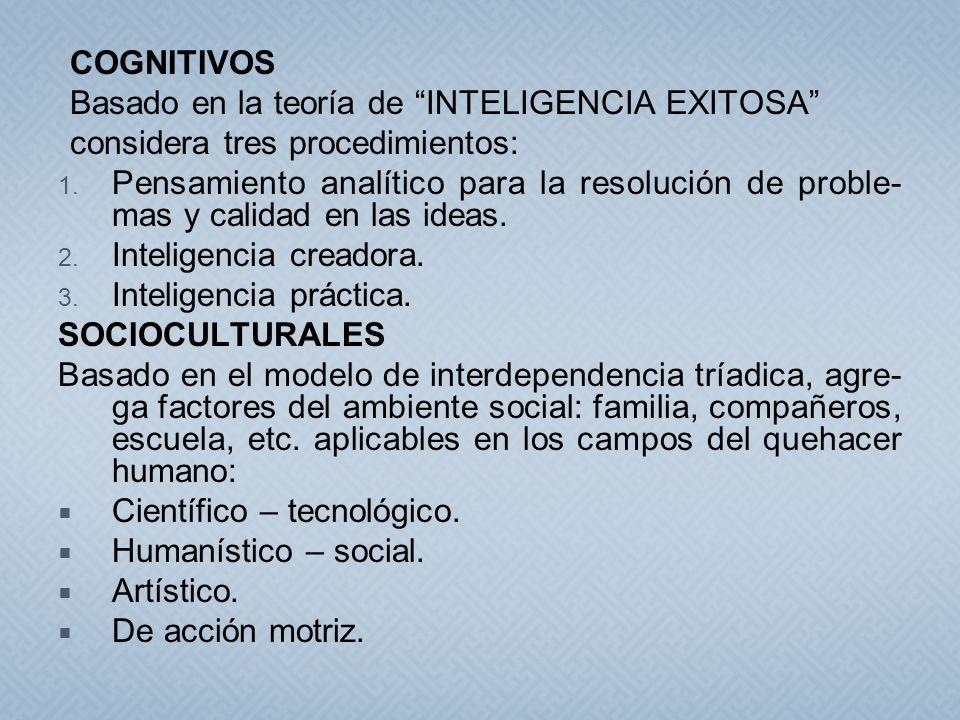 COGNITIVOS Basado en la teoría de INTELIGENCIA EXITOSA considera tres procedimientos: