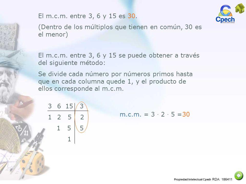 El m.c.m. entre 3, 6 y 15 es 30. (Dentro de los múltiplos que tienen en común, 30 es el menor)
