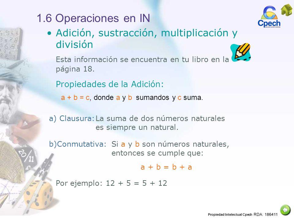 1.6 Operaciones en IN Adición, sustracción, multiplicación y división