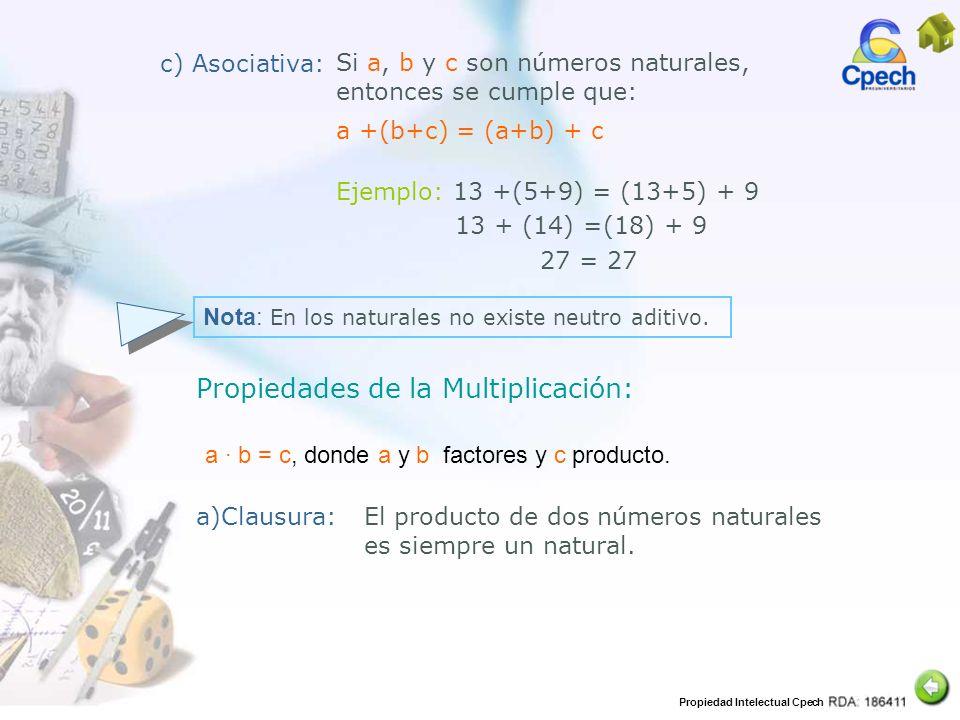 Propiedades de la Multiplicación: