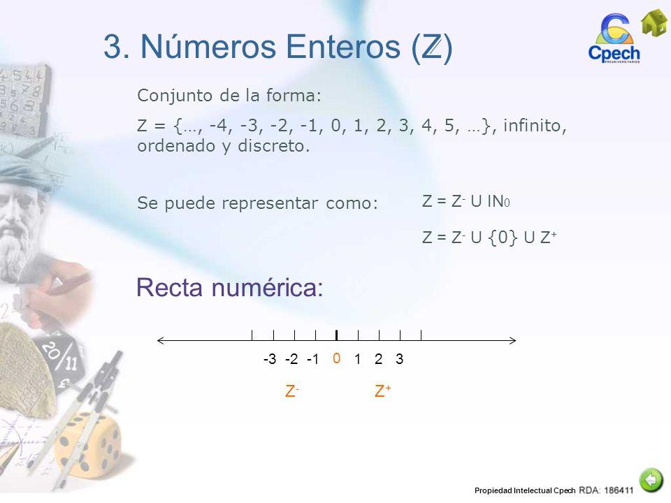 3. Números Enteros (Z) Recta numérica: Conjunto de la forma: