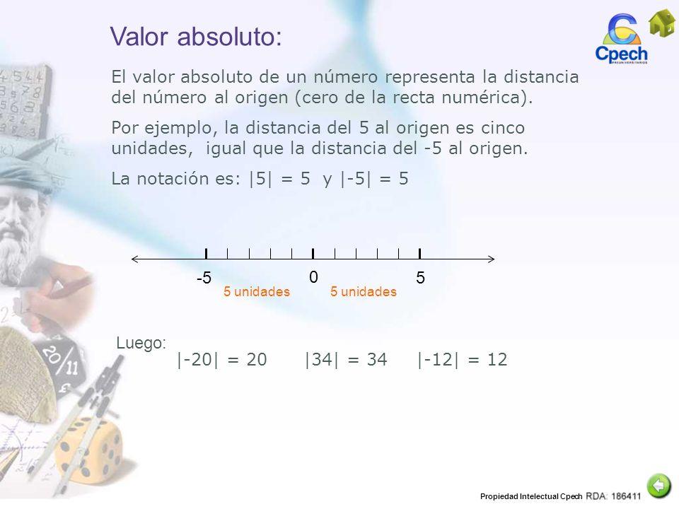 Valor absoluto: El valor absoluto de un número representa la distancia del número al origen (cero de la recta numérica).