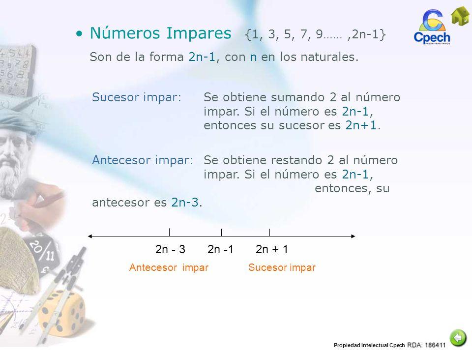 Números Impares {1, 3, 5, 7, 9…… ,2n-1}
