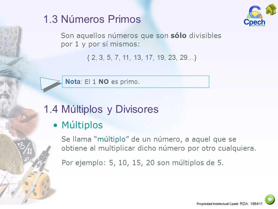 1.3 Números Primos 1.4 Múltiplos y Divisores Múltiplos
