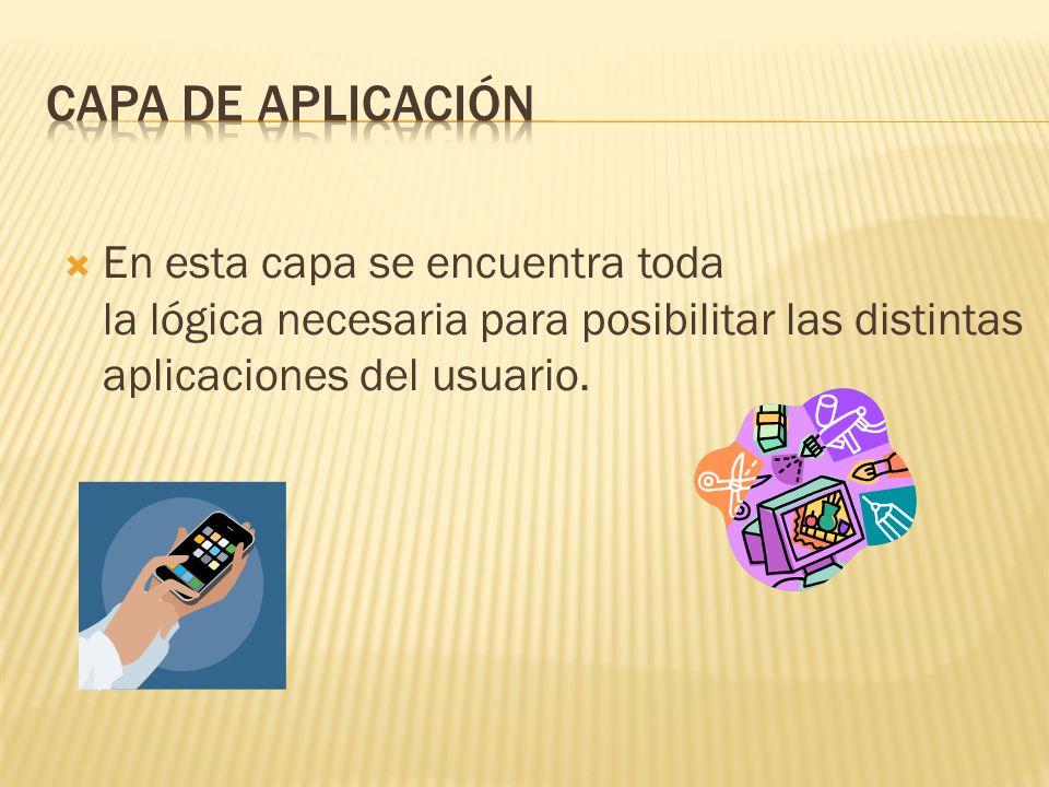 Capa de aplicación En esta capa se encuentra toda la lógica necesaria para posibilitar las distintas aplicaciones del usuario.