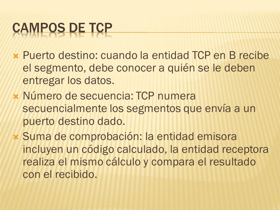 Campos de tcp Puerto destino: cuando la entidad TCP en B recibe el segmento, debe conocer a quién se le deben entregar los datos.