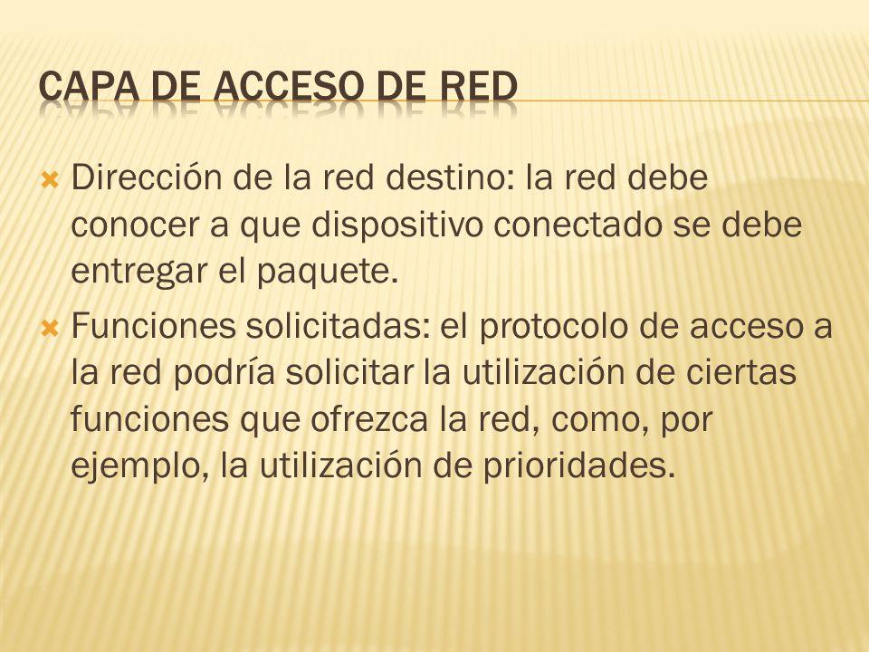 Capa de acceso de red Dirección de la red destino: la red debe conocer a que dispositivo conectado se debe entregar el paquete.