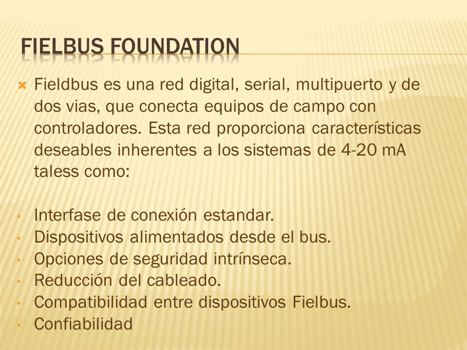 Fielbus foundation