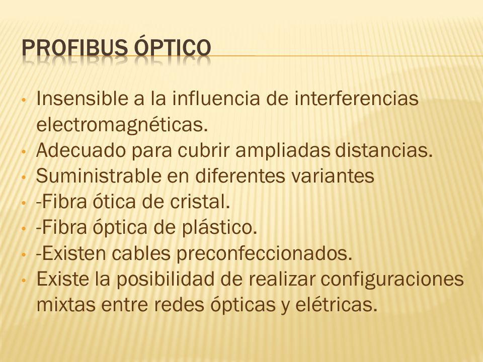 Profibus óptico Insensible a la influencia de interferencias electromagnéticas. Adecuado para cubrir ampliadas distancias.