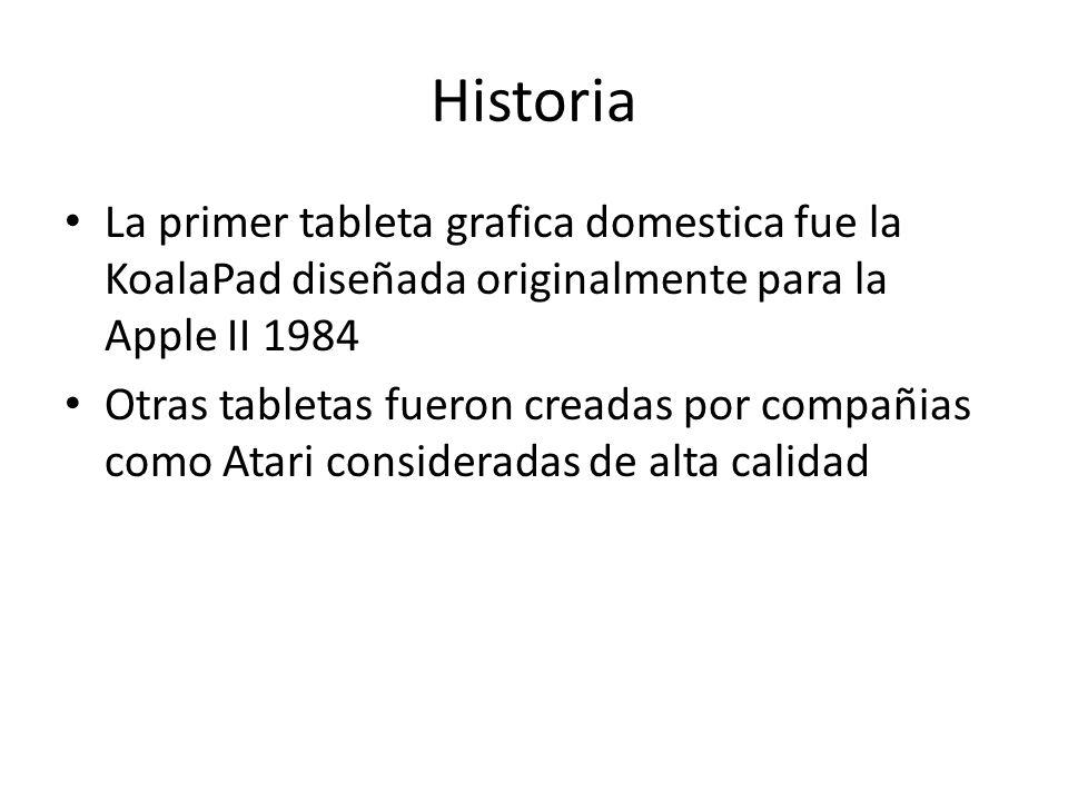Historia La primer tableta grafica domestica fue la KoalaPad diseñada originalmente para la Apple II 1984.