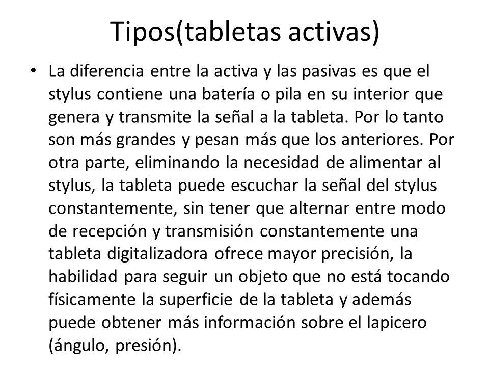 Tipos(tabletas activas)