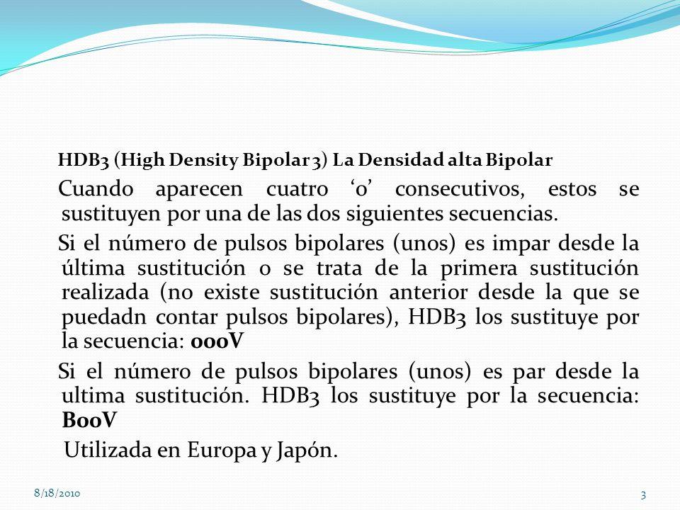HDB3 (High Density Bipolar 3) La Densidad alta Bipolar
