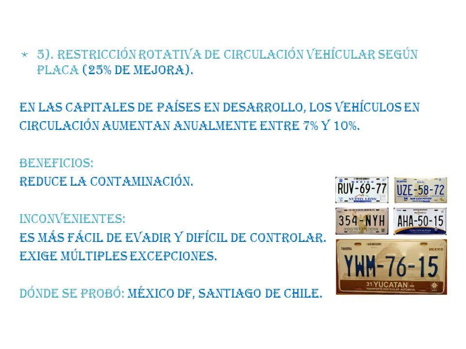 5). RESTRICCIÓN ROTATIVA DE CIRCULACIÓN VEHÍCULAR SEGÚN PLACA (25% de mejora).
