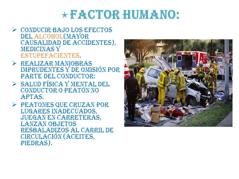 Factor humano: Conducir bajo los efectos del alcohol(mayor causalidad de accidentes), medicinas y estupefacientes.
