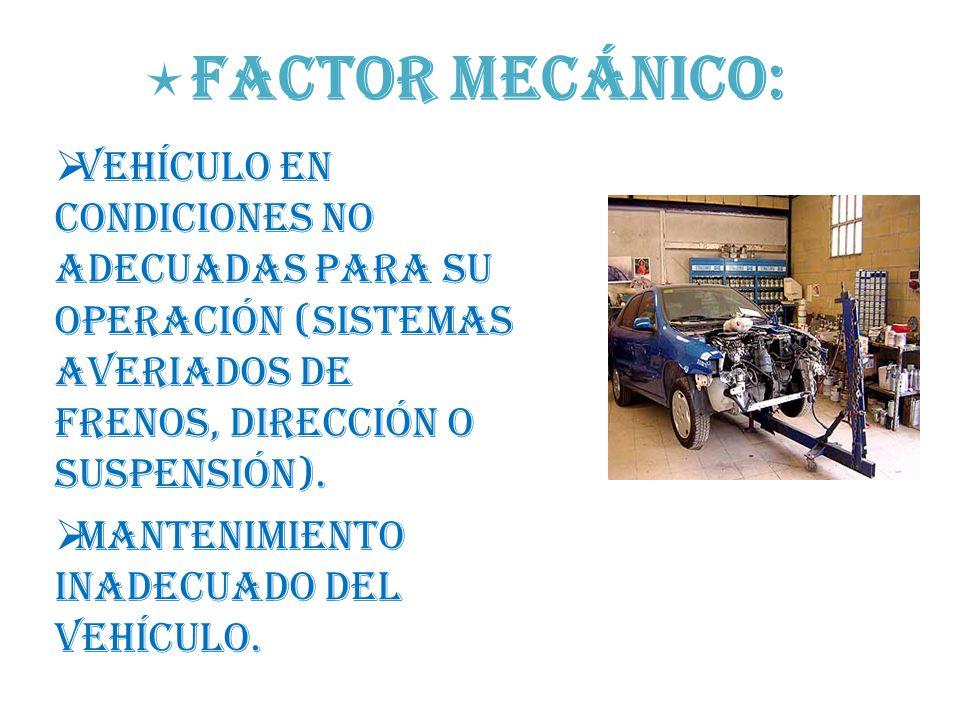 Factor mecánico: Vehículo en condiciones no adecuadas para su operación (sistemas averiados de frenos, dirección o suspensión).