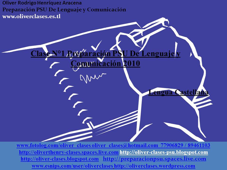 Clase N°1 Preparación PSU De Lenguaje y Comunicación 2010