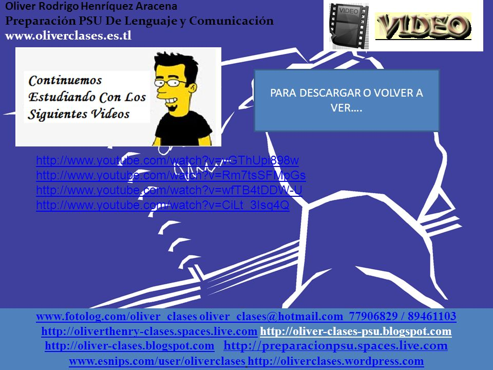www.esnips.com/user/oliverclases http://oliverclases.wordpress.com