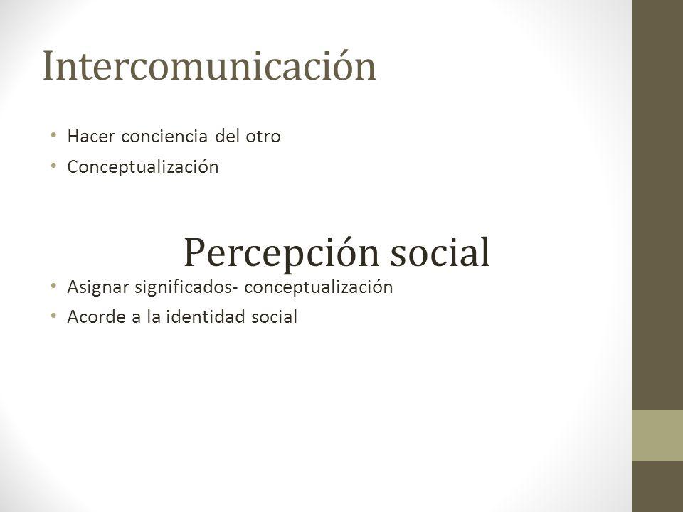 Intercomunicación Percepción social Hacer conciencia del otro