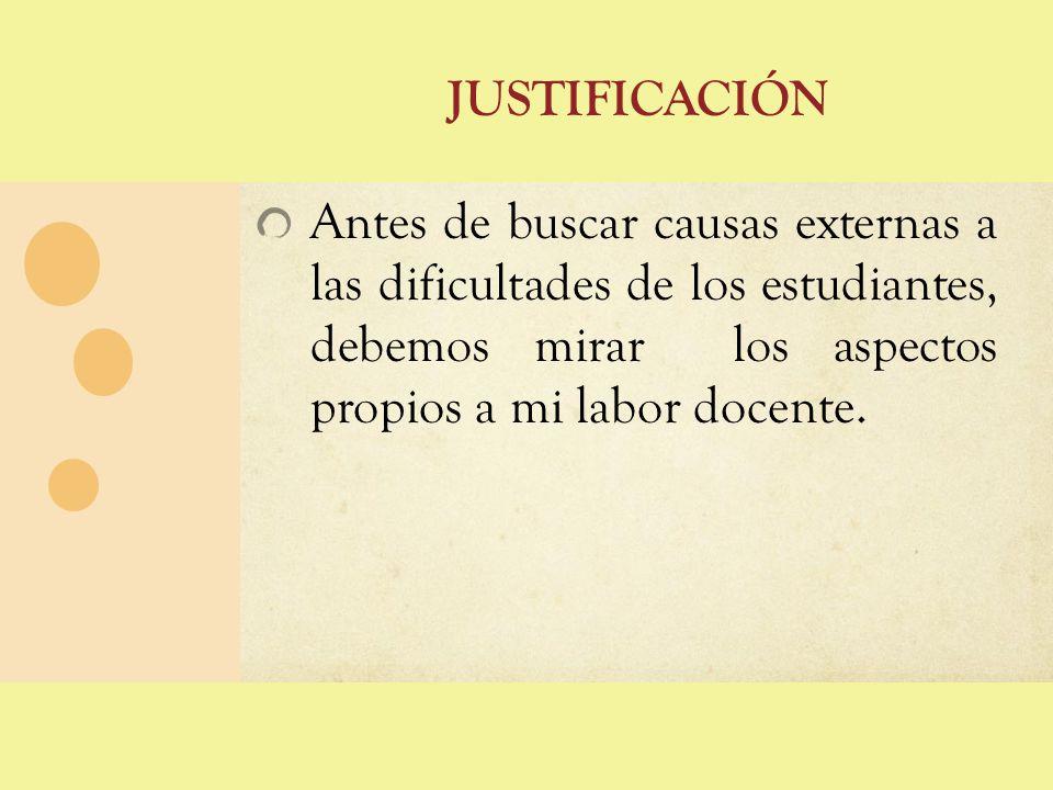 justificación Antes de buscar causas externas a las dificultades de los estudiantes, debemos mirar los aspectos propios a mi labor docente.