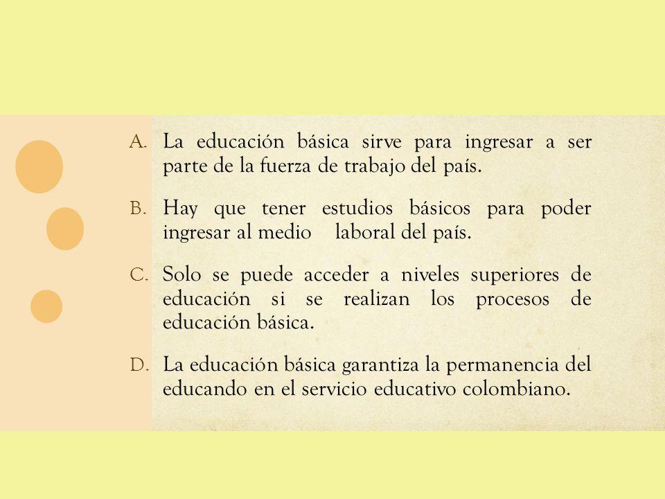 La educación básica sirve para ingresar a ser parte de la fuerza de trabajo del país.