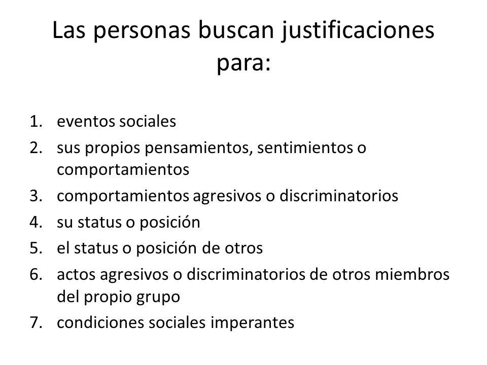Las personas buscan justificaciones para: