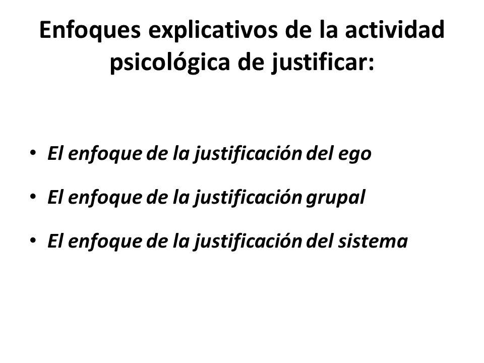 Enfoques explicativos de la actividad psicológica de justificar: