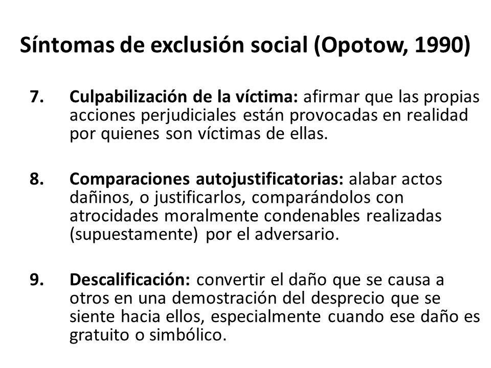 Síntomas de exclusión social (Opotow, 1990)