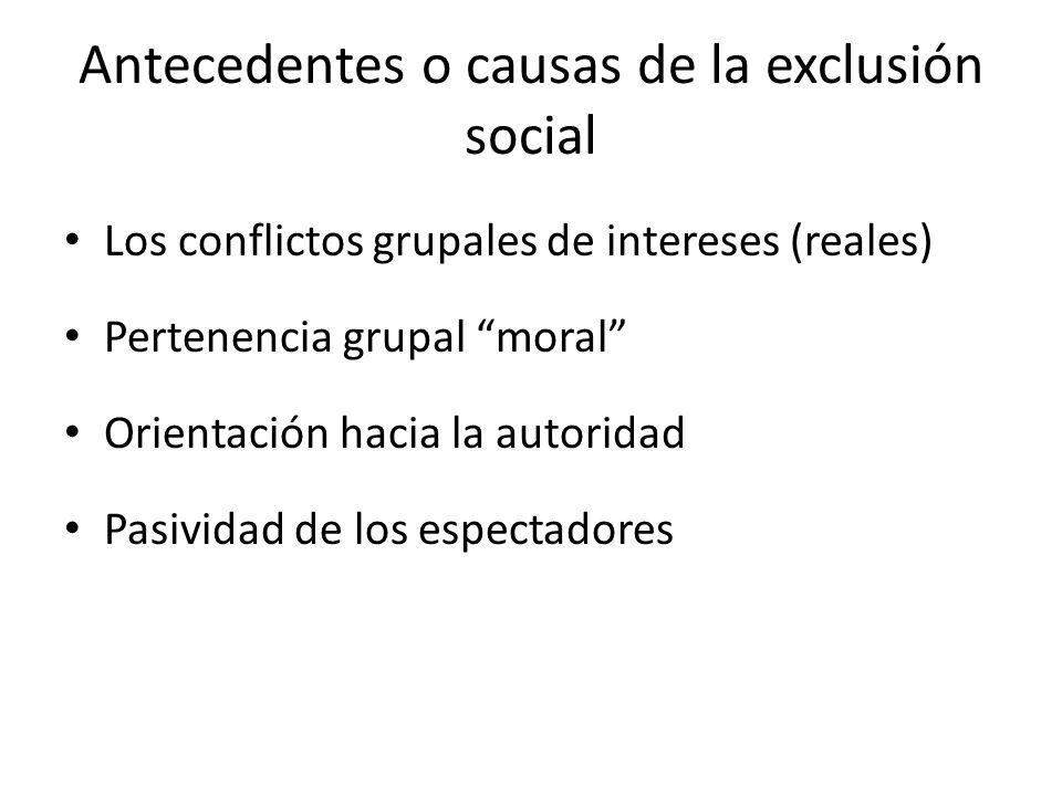 Antecedentes o causas de la exclusión social