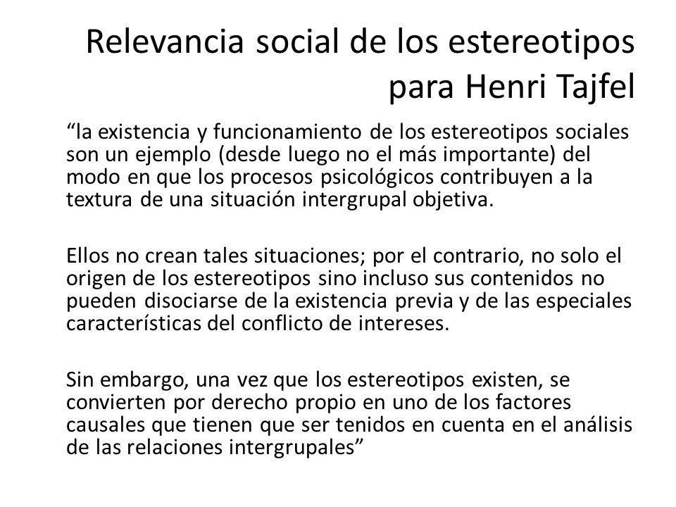 Relevancia social de los estereotipos para Henri Tajfel