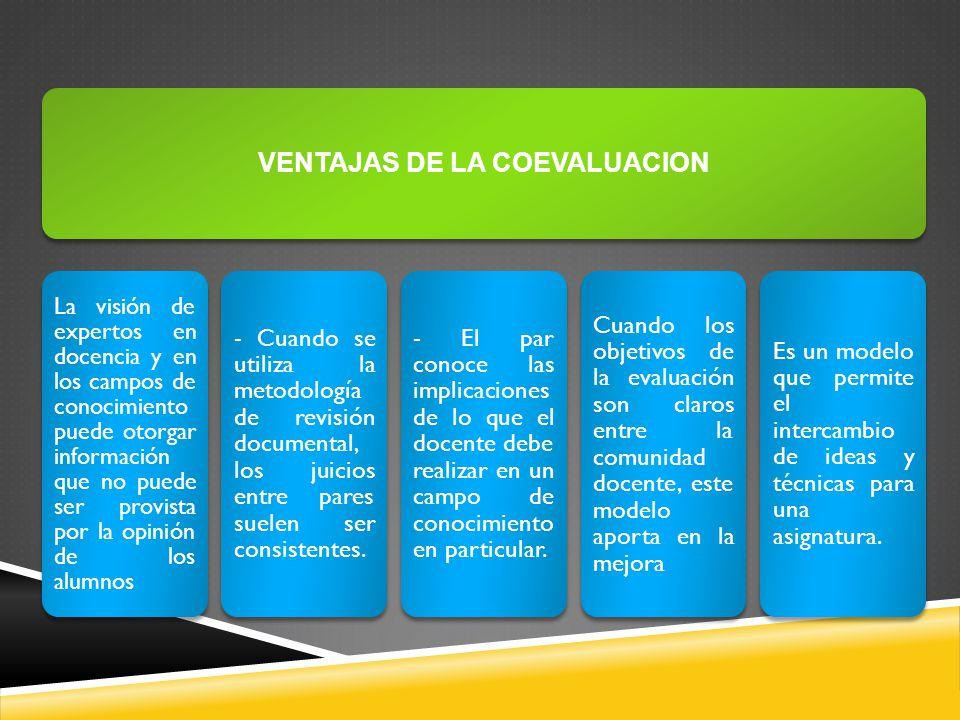 VENTAJAS DE LA COEVALUACION