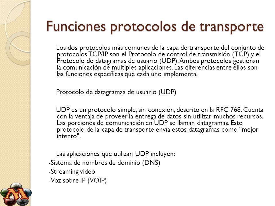 Funciones protocolos de transporte