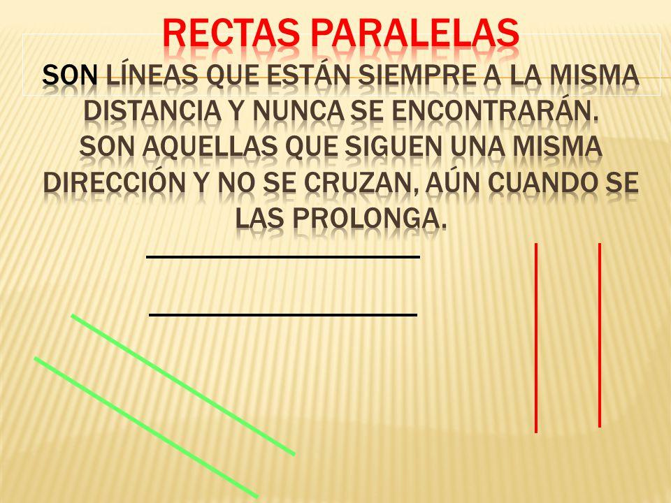 Rectas Paralelas Son Líneas que están siempre a la misma distancia y nunca se encontrarán.