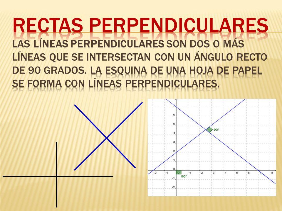 Rectas Perpendiculares Las líneas perpendiculares son dos o más líneas que se intersectan con un ángulo recto de 90 grados.