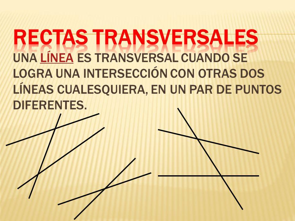 Rectas Transversales una línea es transversal cuando se logra una intersección con otras dos líneas cualesquiera, en un par de puntos diferentes.