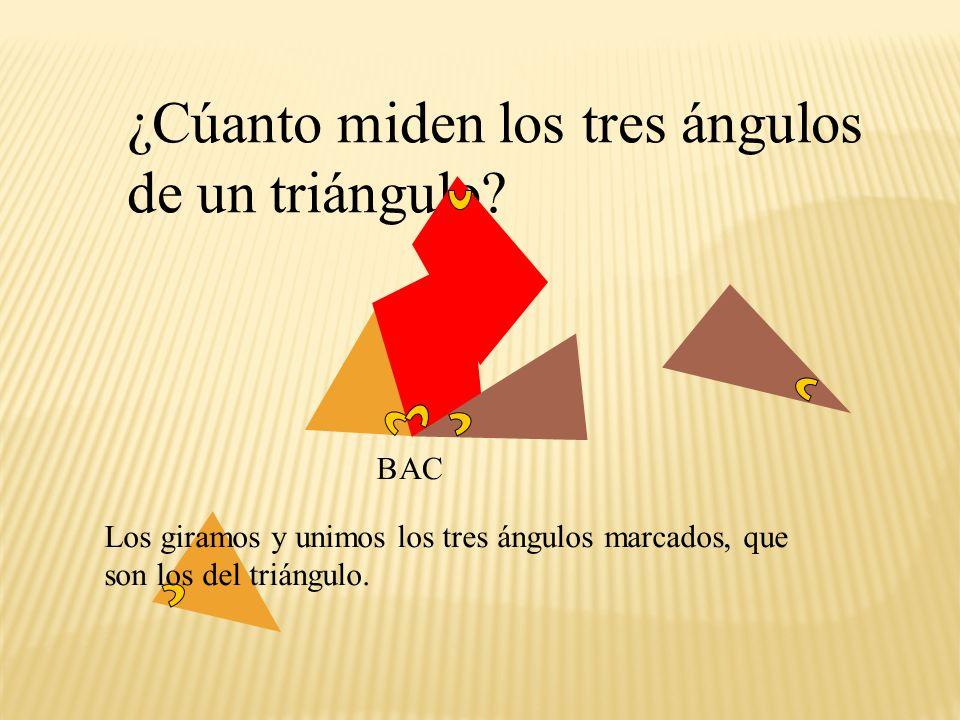 ¿Cúanto miden los tres ángulos de un triángulo
