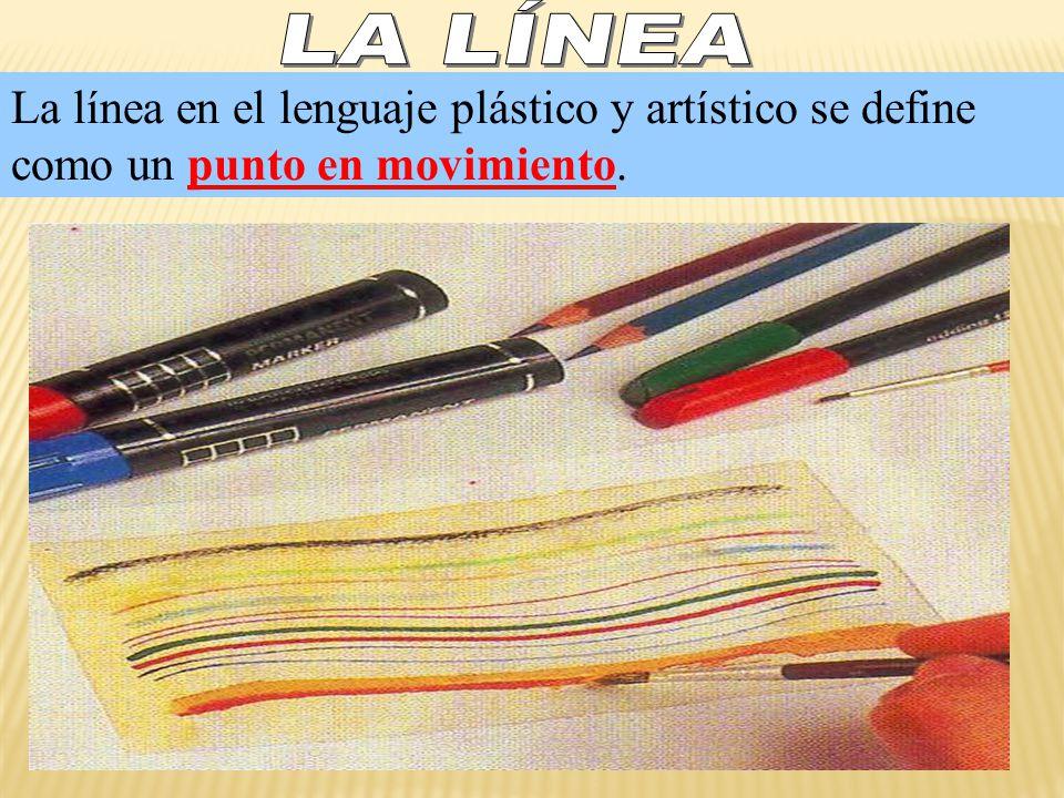 LA LÍNEA La línea en el lenguaje plástico y artístico se define como un punto en movimiento.