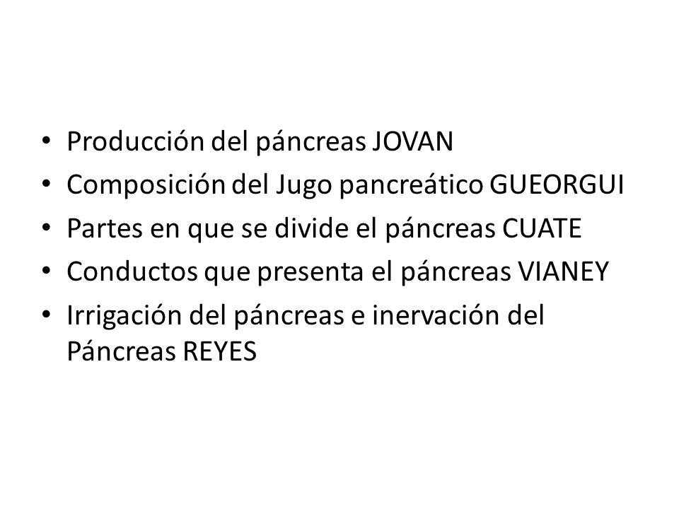 Producción del páncreas JOVAN