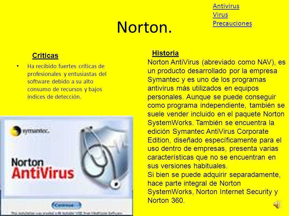 Norton. Antivirus Virus Precauciones Historia Criticas