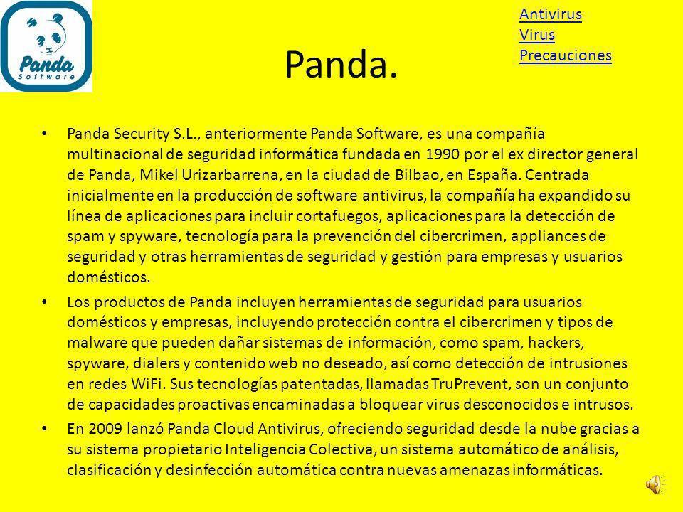 Panda. Antivirus Virus Precauciones