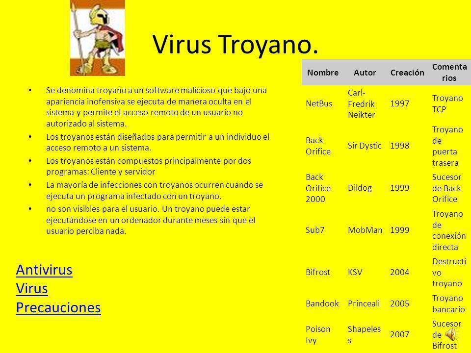 Virus Troyano. Antivirus Virus Precauciones Nombre Autor Creación