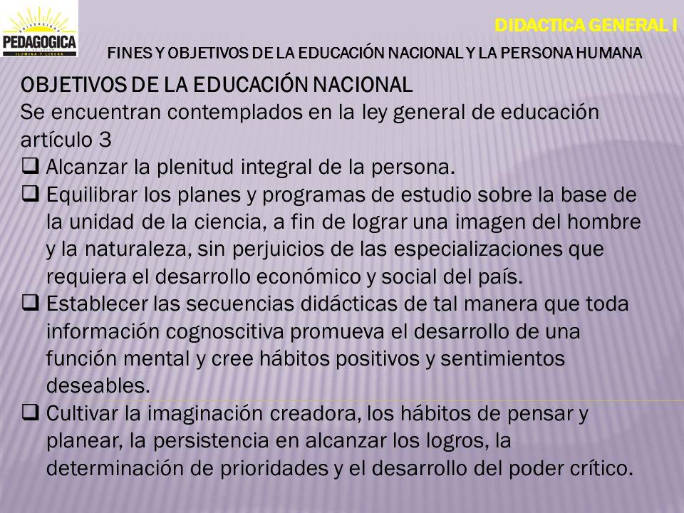 FINES Y OBJETIVOS DE LA EDUCACIÓN NACIONAL Y LA PERSONA HUMANA