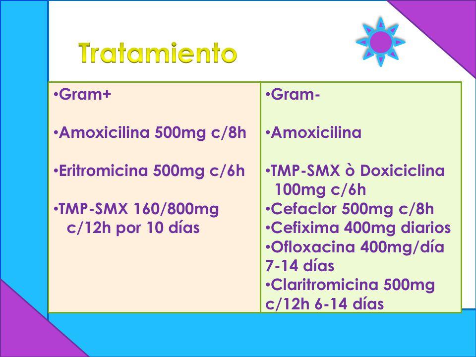 Tratamiento Gram+ Amoxicilina 500mg c/8h Eritromicina 500mg c/6h