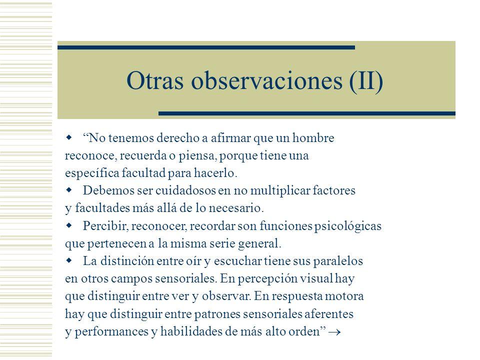 Otras observaciones (II)
