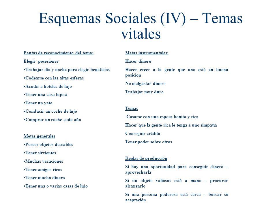 Esquemas Sociales (IV) – Temas vitales