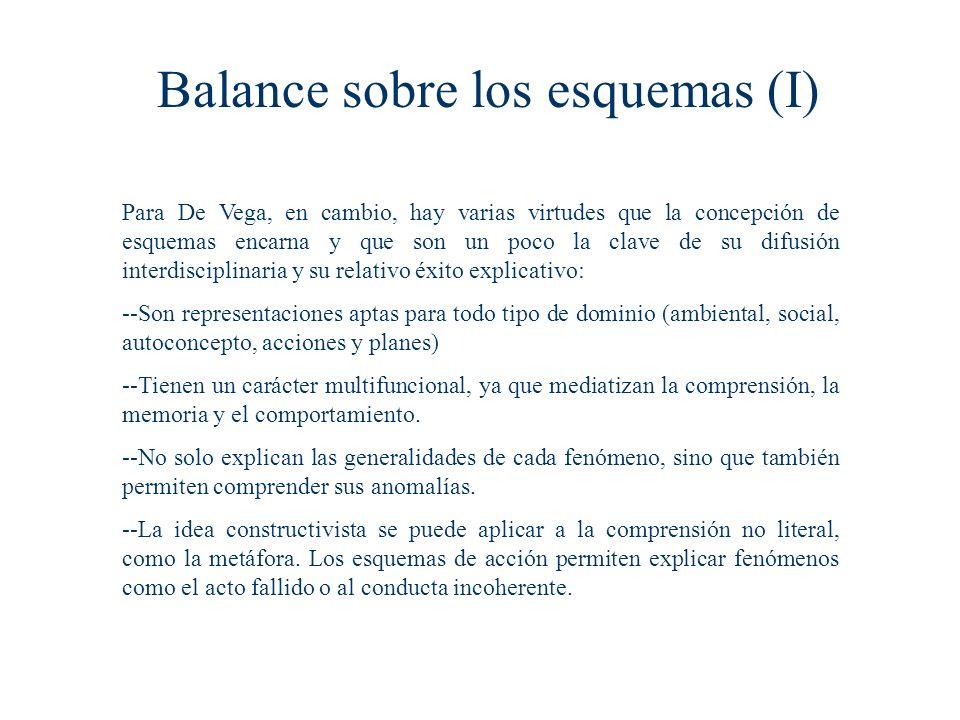 Balance sobre los esquemas (I)