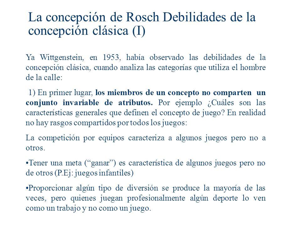 La concepción de Rosch Debilidades de la concepción clásica (I)