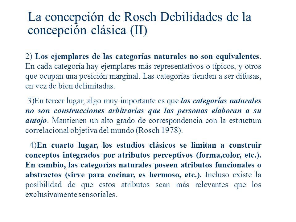 La concepción de Rosch Debilidades de la concepción clásica (II)