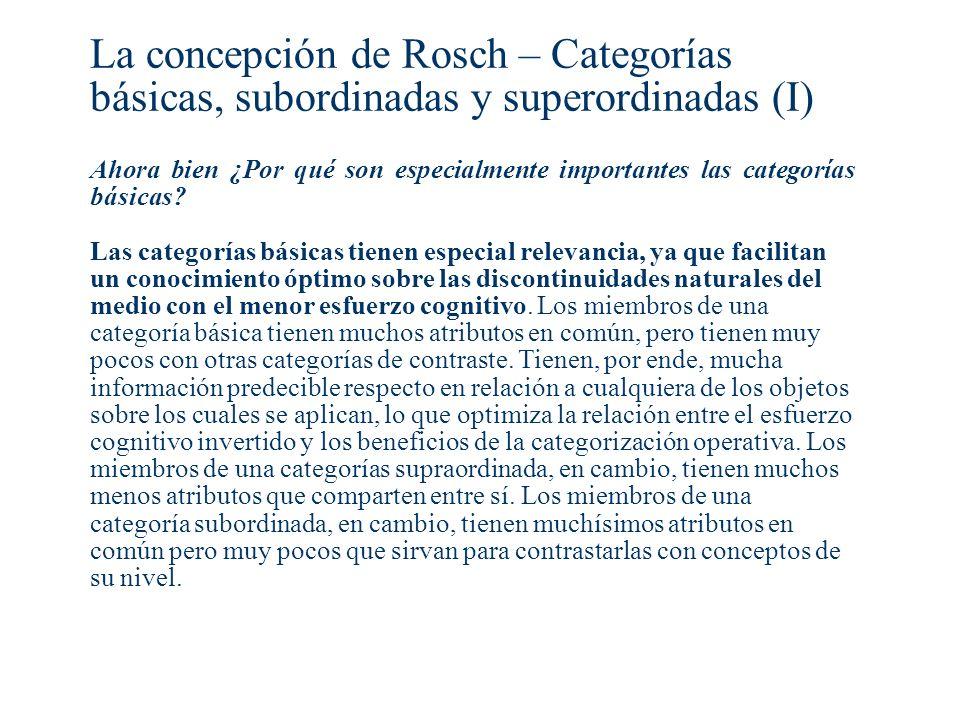 La concepción de Rosch – Categorías básicas, subordinadas y superordinadas (I)
