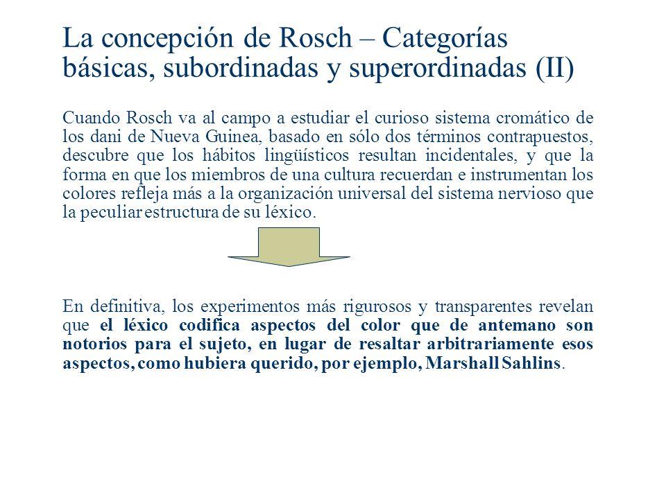 La concepción de Rosch – Categorías básicas, subordinadas y superordinadas (II)